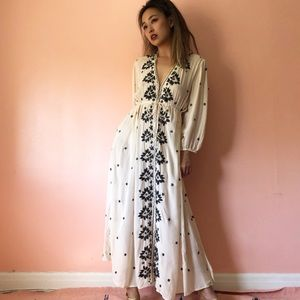 Free People Embroidered Midi Dress